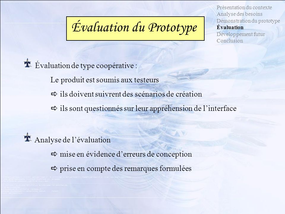 Évaluation du Prototype