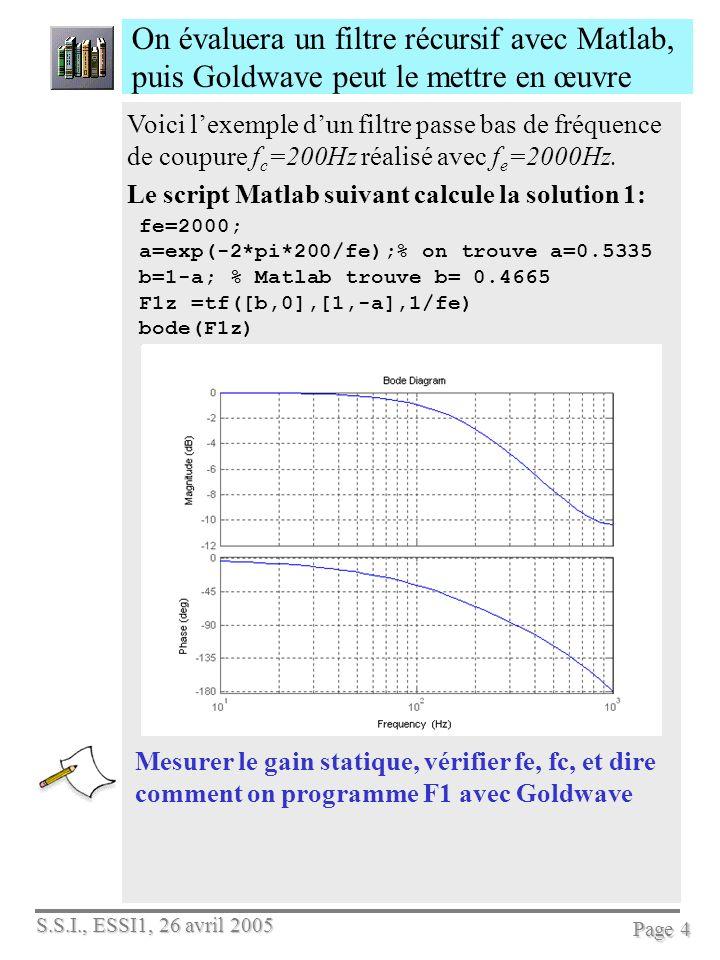 On évaluera un filtre récursif avec Matlab, puis Goldwave peut le mettre en œuvre