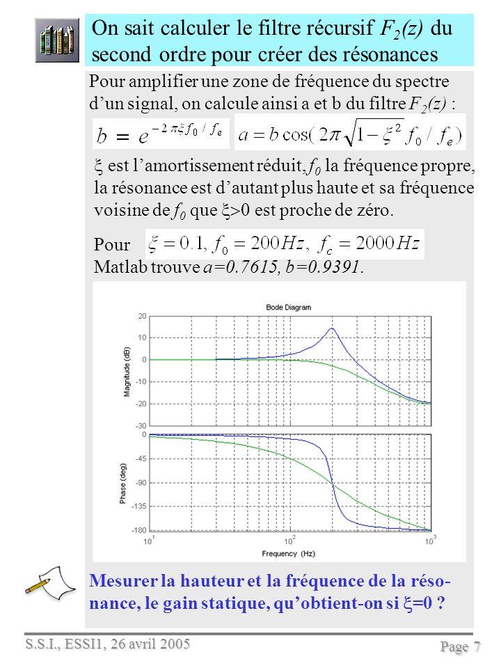 On sait calculer le filtre récursif F2(z) du second ordre pour créer des résonances