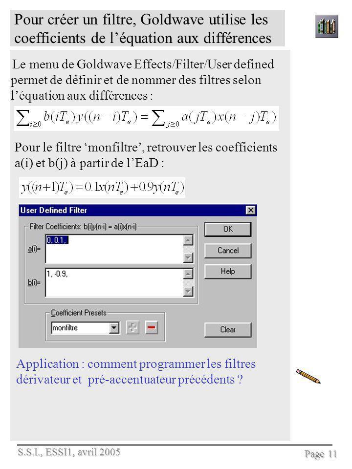 Pour créer un filtre, Goldwave utilise les coefficients de l'équation aux différences
