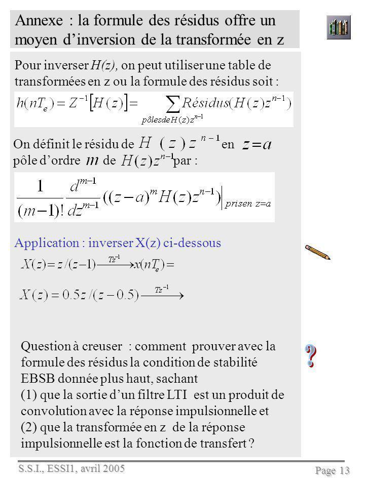 Annexe : la formule des résidus offre un moyen d'inversion de la transformée en z