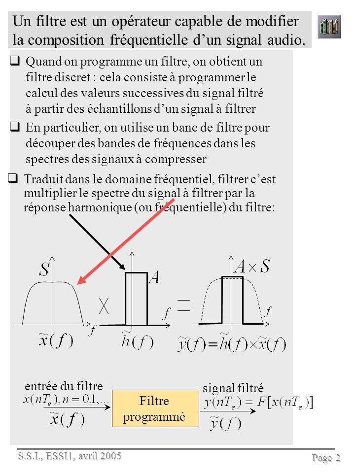 Un filtre est un opérateur capable de modifier la composition fréquentielle d'un signal audio.