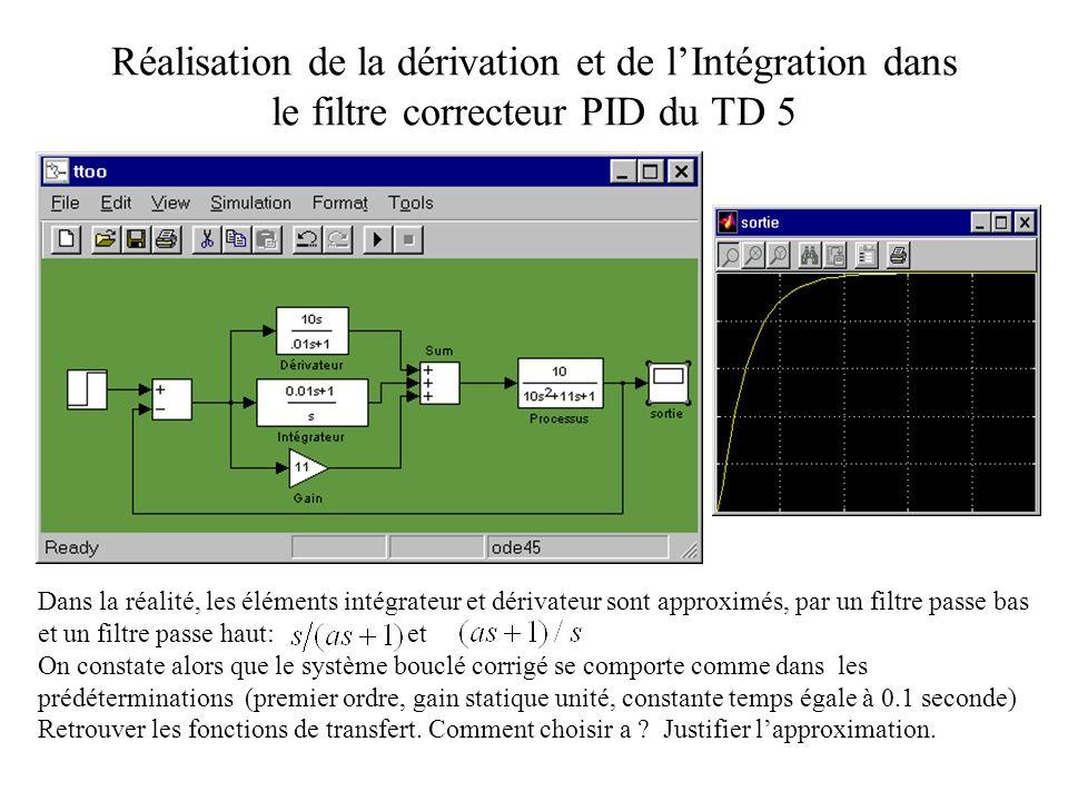 Réalisation de la dérivation et de l'Intégration dans le filtre correcteur PID du TD 5