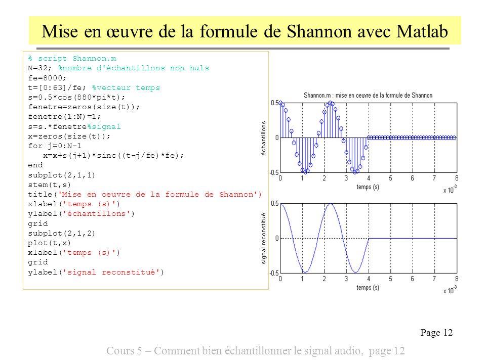 Mise en œuvre de la formule de Shannon avec Matlab