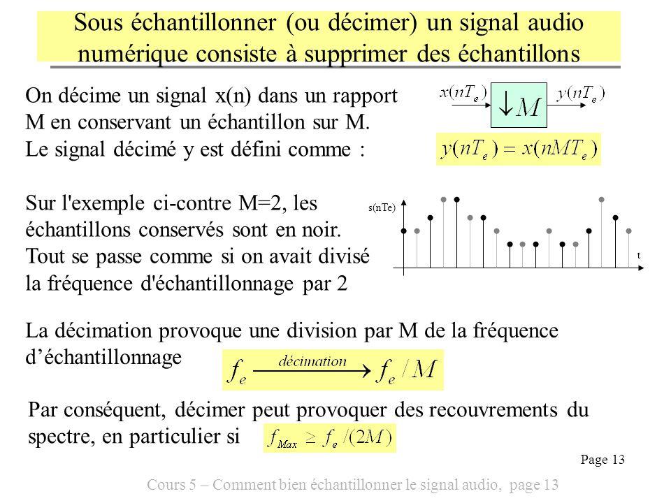 Sous échantillonner (ou décimer) un signal audio numérique consiste à supprimer des échantillons