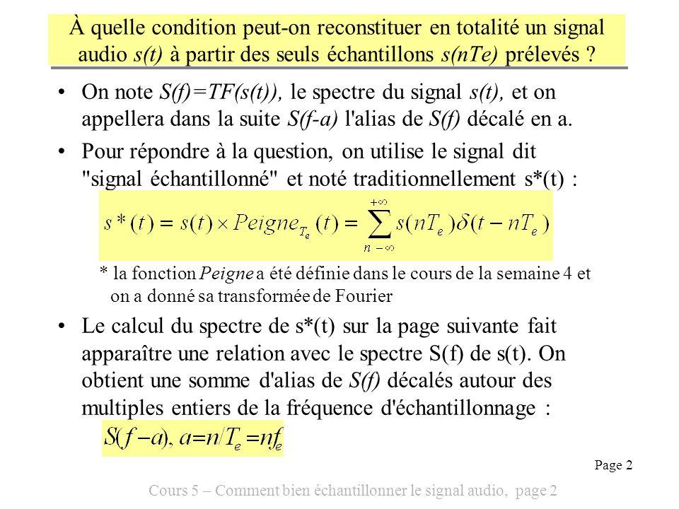 À quelle condition peut-on reconstituer en totalité un signal audio s(t) à partir des seuls échantillons s(nTe) prélevés
