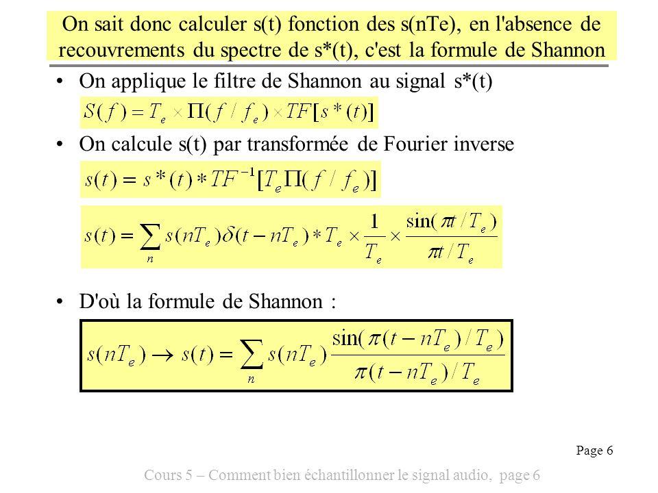 On sait donc calculer s(t) fonction des s(nTe), en l absence de recouvrements du spectre de s*(t), c est la formule de Shannon