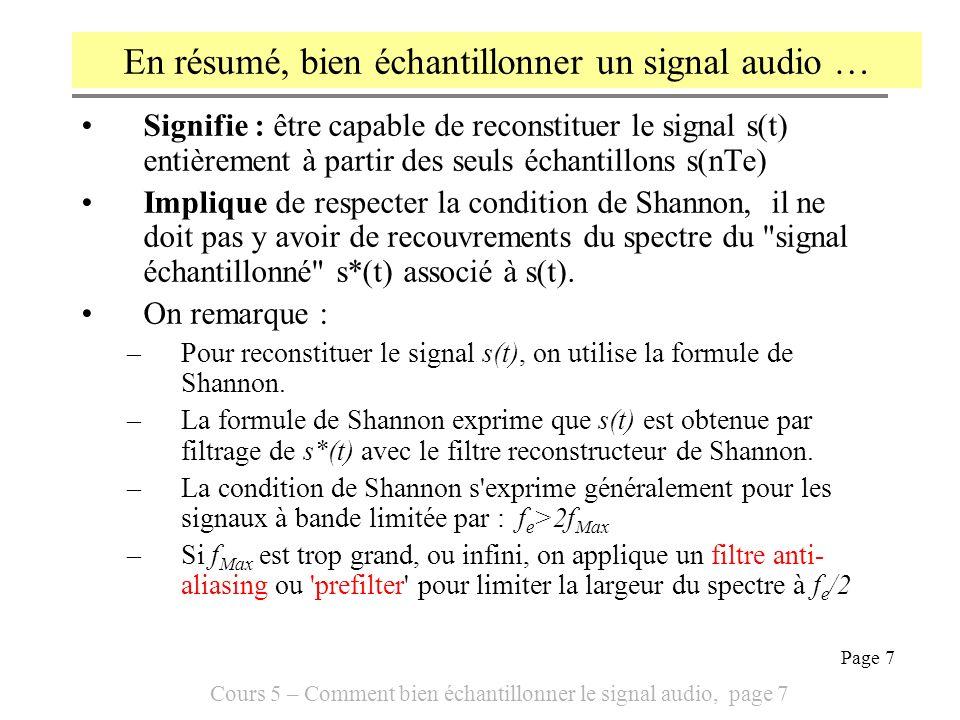 En résumé, bien échantillonner un signal audio …