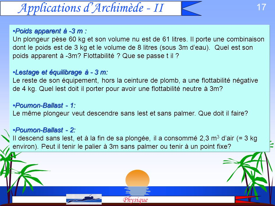 Applications d'Archimède - II