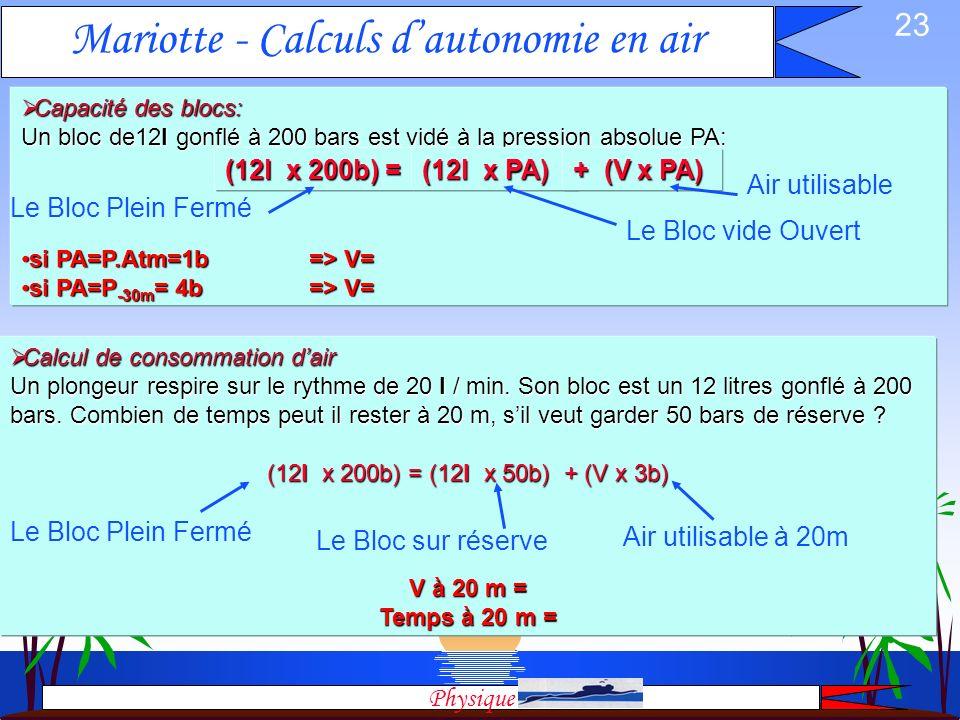 Mariotte - Calculs d'autonomie en air