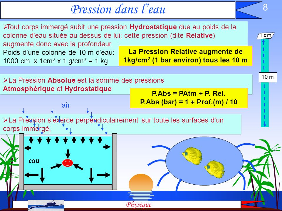 La Pression Relative augmente de 1kg/cm2 (1 bar environ) tous les 10 m