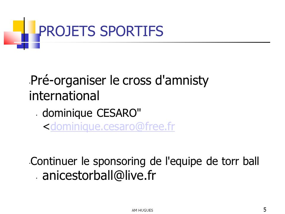 PROJETS SPORTIFS Pré-organiser le cross d amnisty international