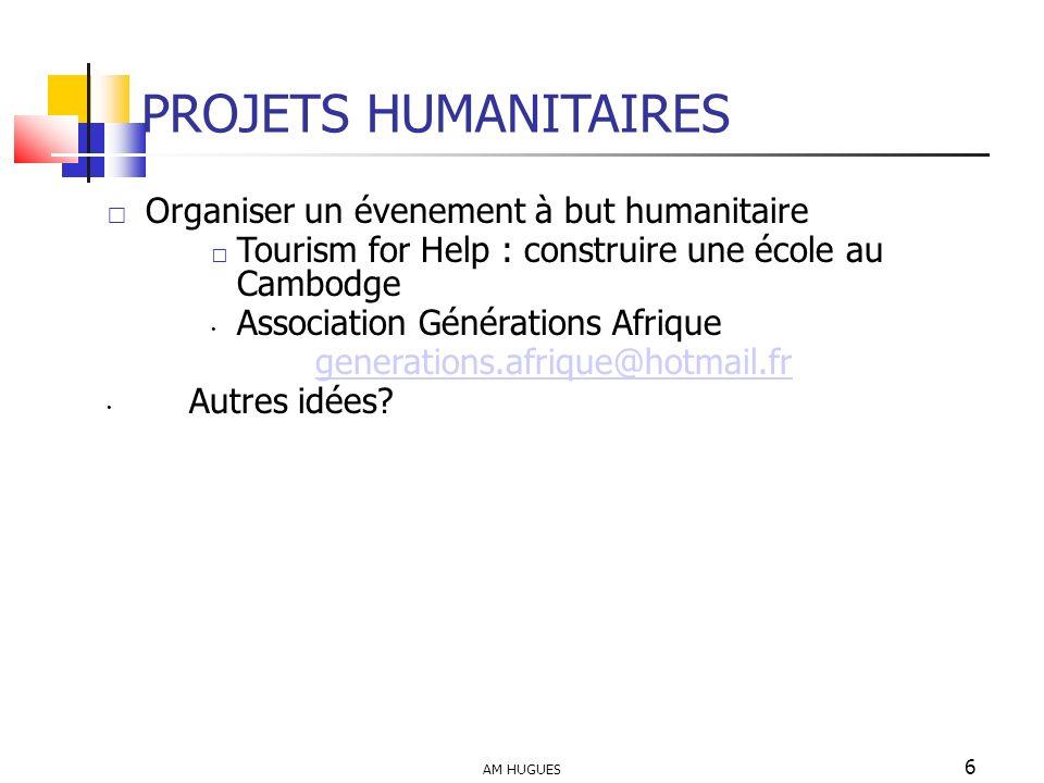 PROJETS HUMANITAIRES Organiser un évenement à but humanitaire