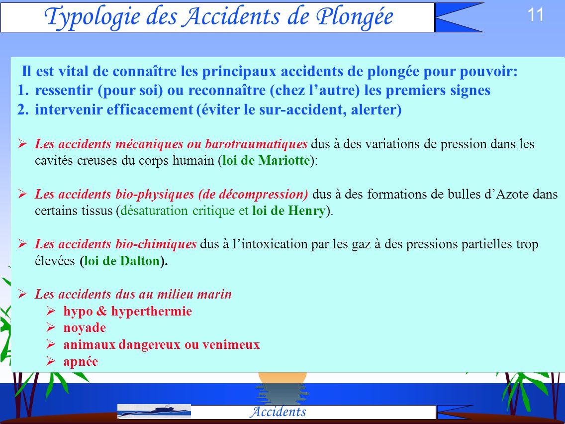 Typologie des Accidents de Plongée