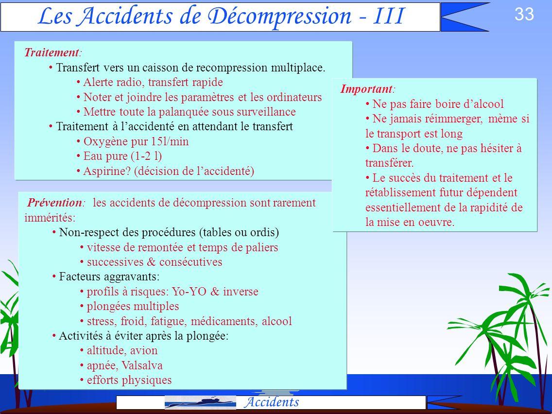 Les Accidents de Décompression - III