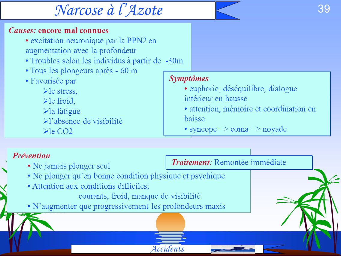 Narcose à l'Azote Accidents Causes: encore mal connues