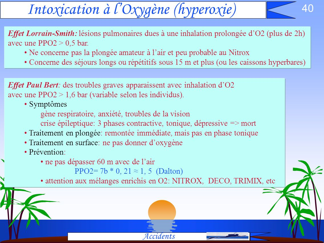 Intoxication à l'Oxygène (hyperoxie)