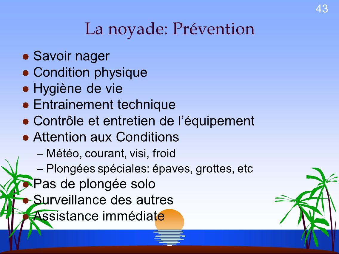 La noyade: Prévention Savoir nager Condition physique Hygiène de vie