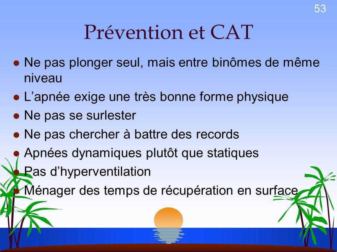 Prévention et CAT Ne pas plonger seul, mais entre binômes de même niveau. L'apnée exige une très bonne forme physique.