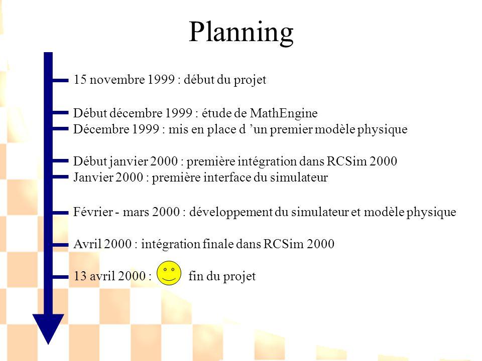 Planning 15 novembre 1999 : début du projet