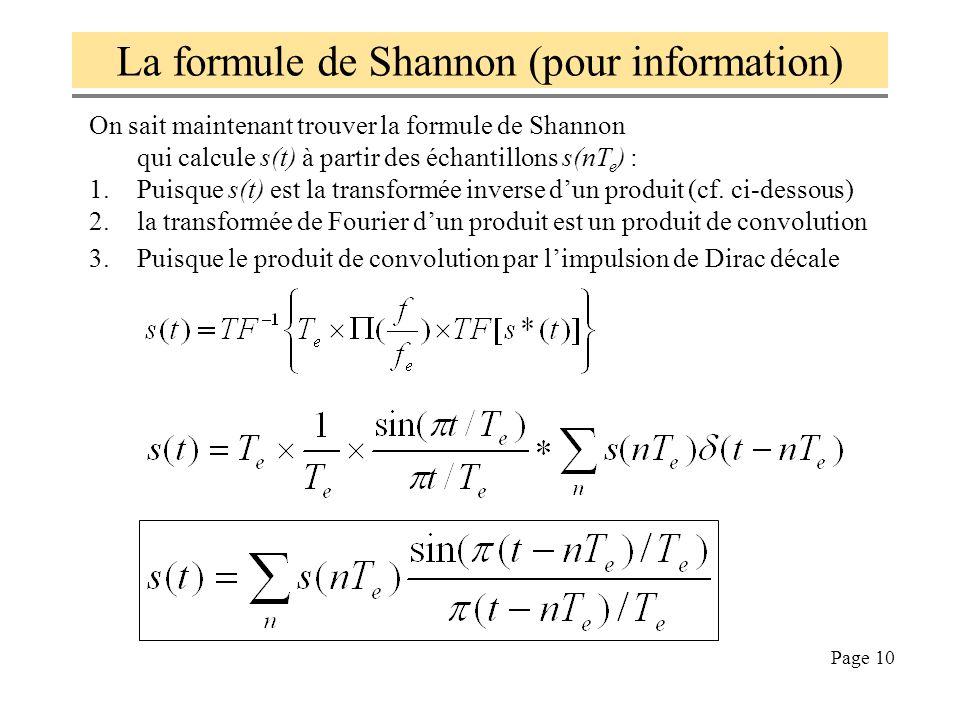 La formule de Shannon (pour information)