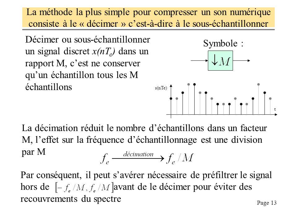 La méthode la plus simple pour compresser un son numérique consiste à le « décimer » c'est-à-dire à le sous-échantillonner