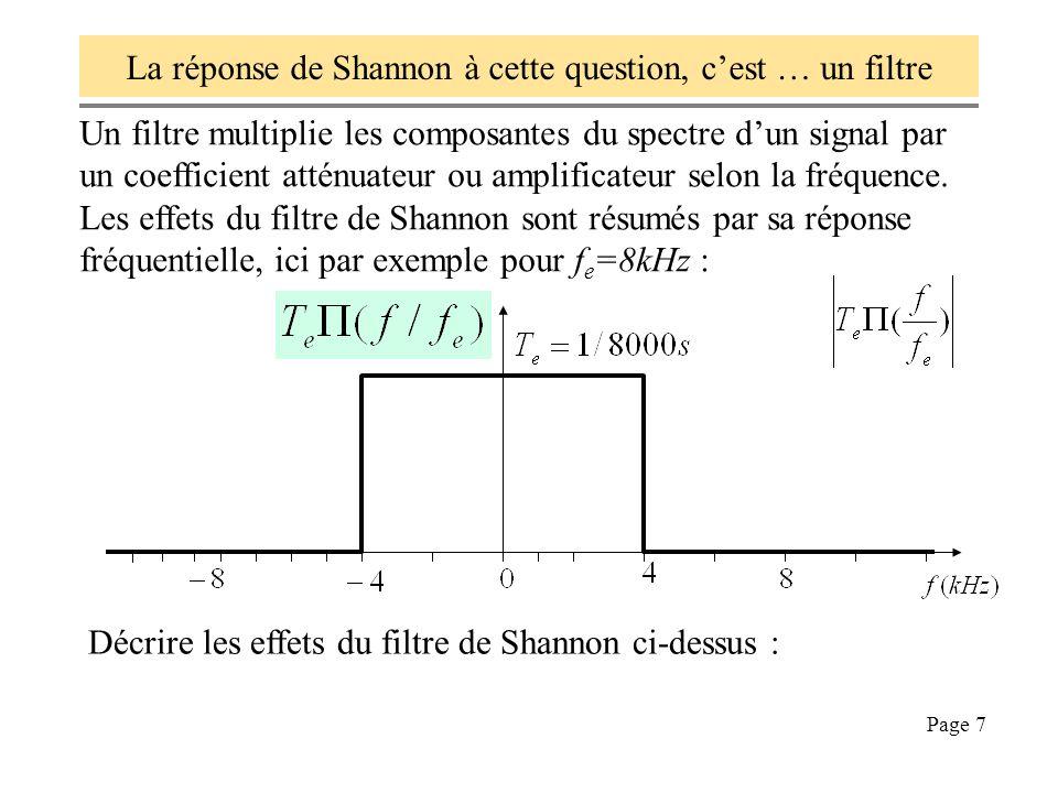 La réponse de Shannon à cette question, c'est … un filtre