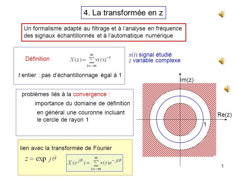 4. La transformée en z Un formalisme adapté au filtrage et à l'analyse en fréquence. des signaux échantillonnés et à l'automatique numérique.