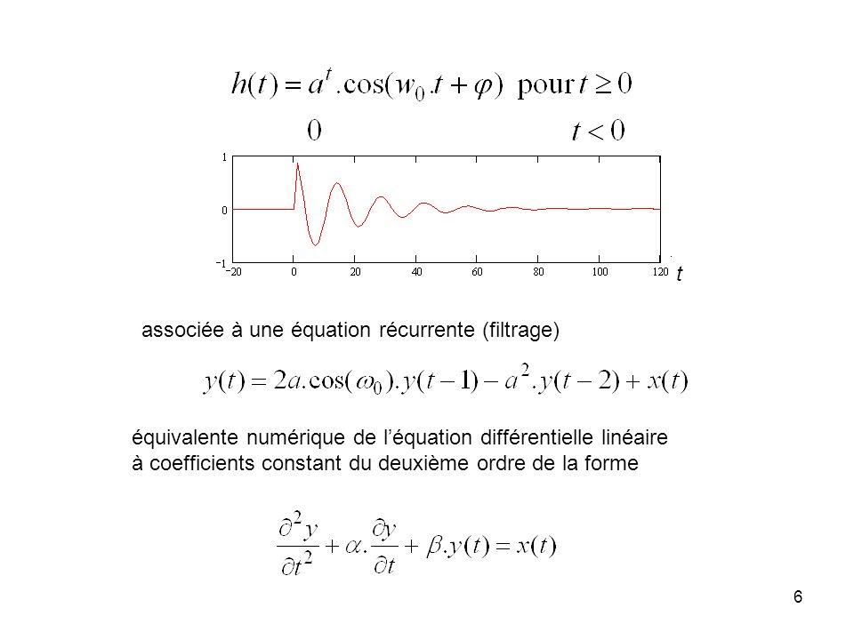 t associée à une équation récurrente (filtrage) équivalente numérique de l'équation différentielle linéaire.