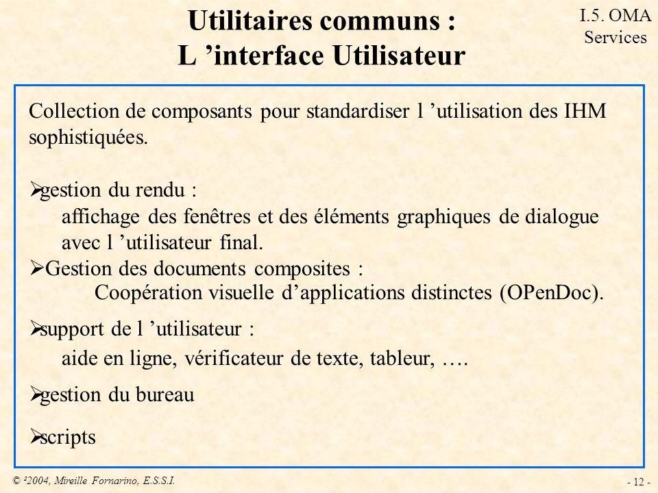 Utilitaires communs : L 'interface Utilisateur