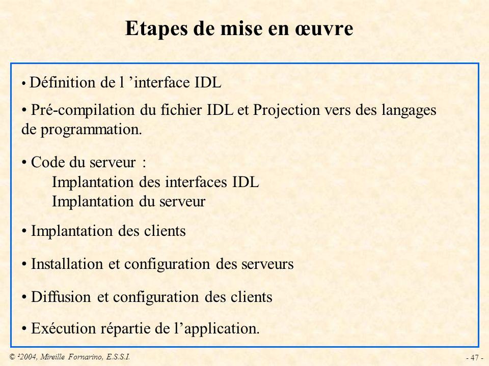 Etapes de mise en œuvre Définition de l 'interface IDL. Pré-compilation du fichier IDL et Projection vers des langages de programmation.