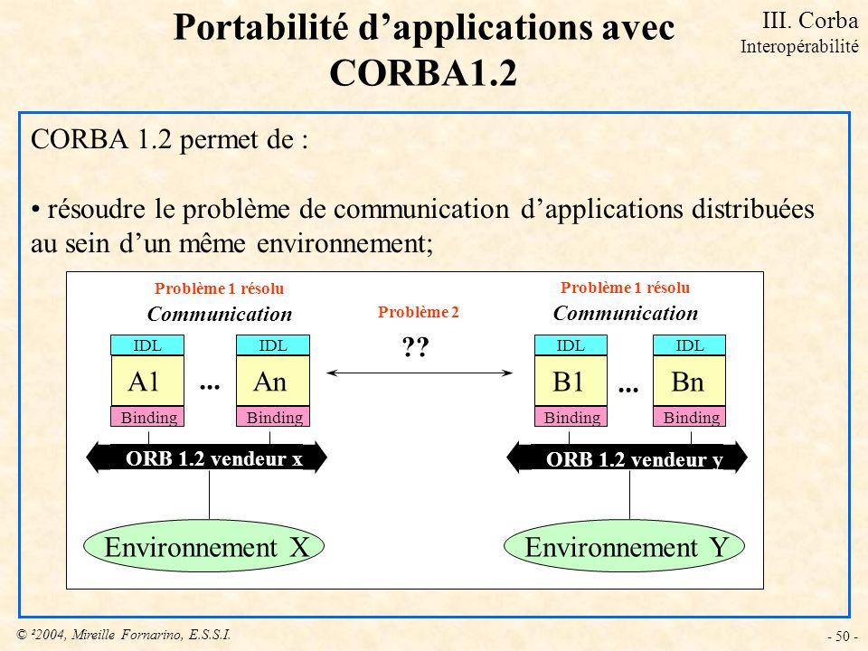 Portabilité d'applications avec CORBA1.2