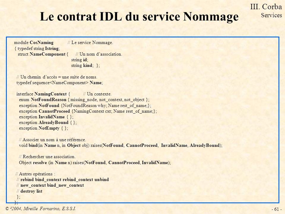 Le contrat IDL du service Nommage