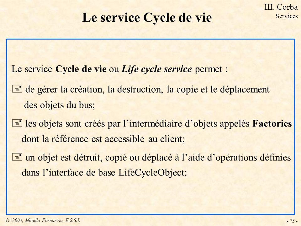 III. Corba Services. Le service Cycle de vie. Le service Cycle de vie ou Life cycle service permet :