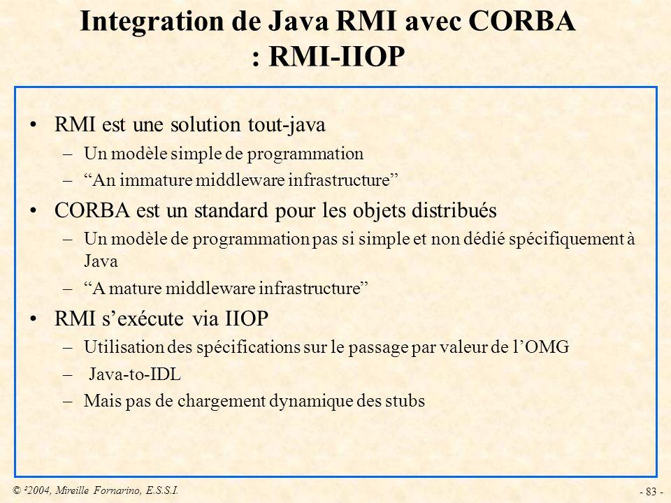 Integration de Java RMI avec CORBA : RMI-IIOP