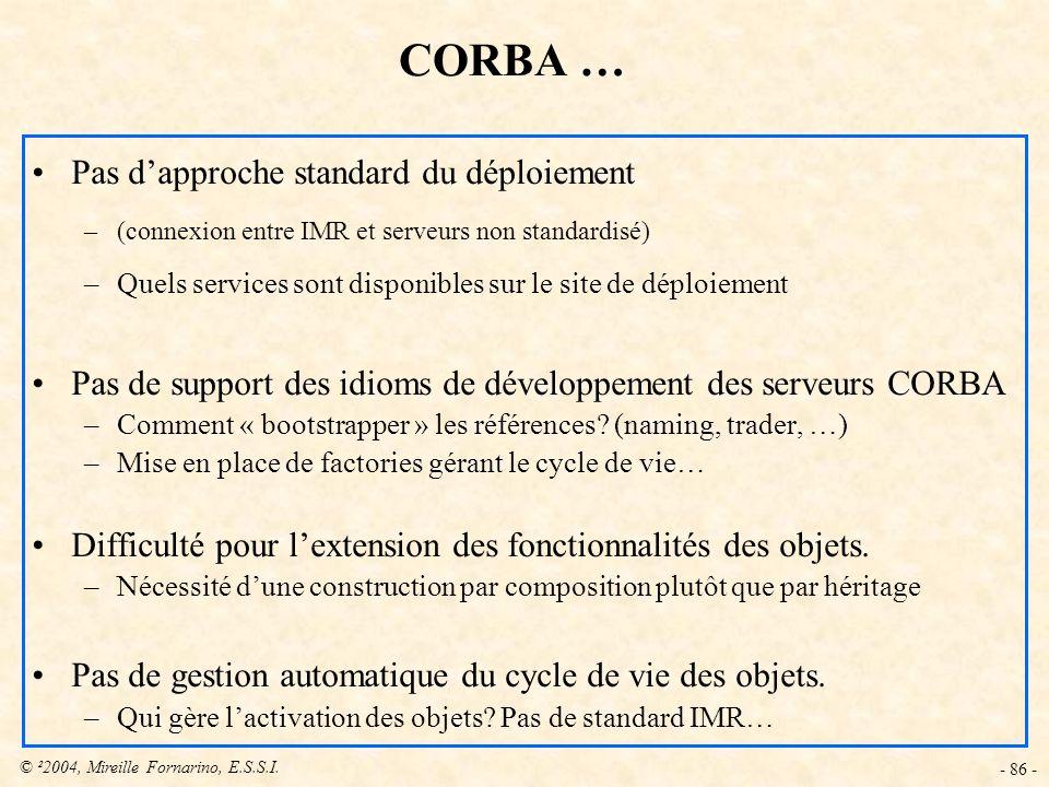 CORBA … Pas d'approche standard du déploiement