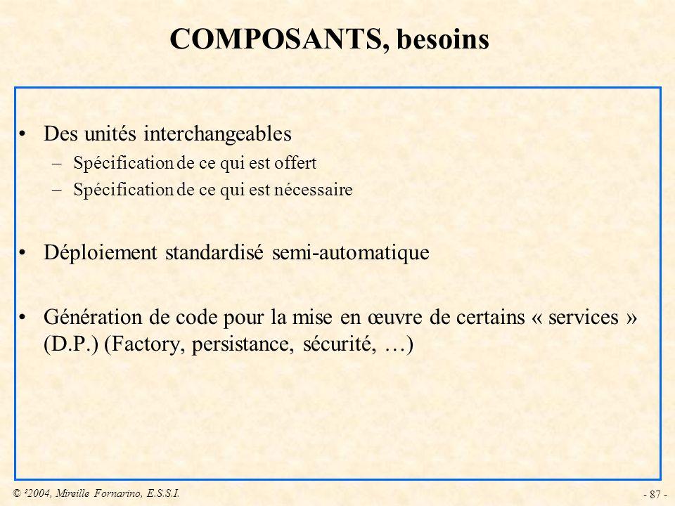 COMPOSANTS, besoins Des unités interchangeables