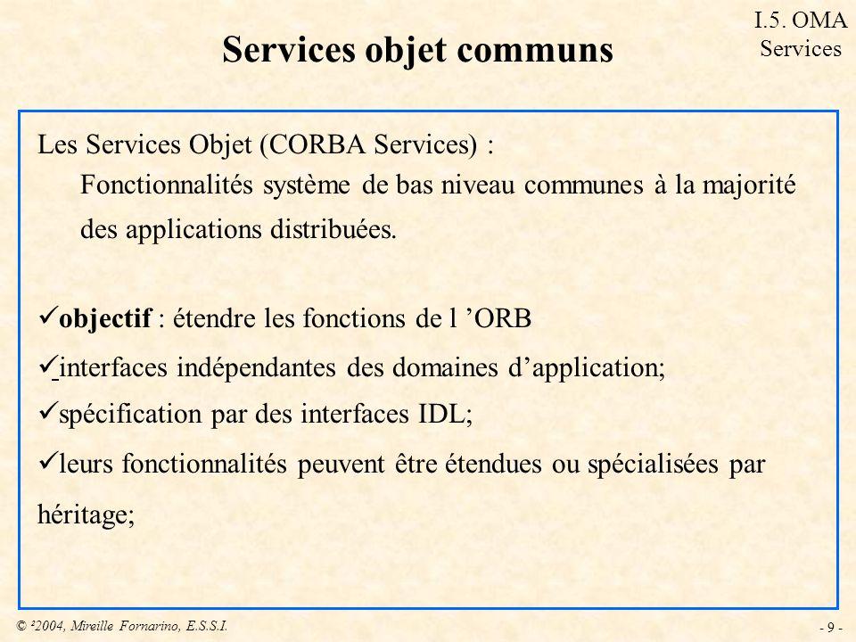 Services objet communs