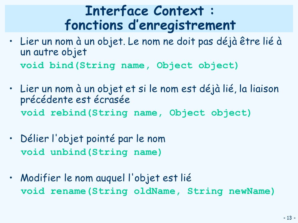 Interface Context : fonctions d'enregistrement