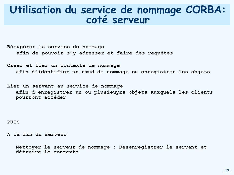 Utilisation du service de nommage CORBA: coté serveur
