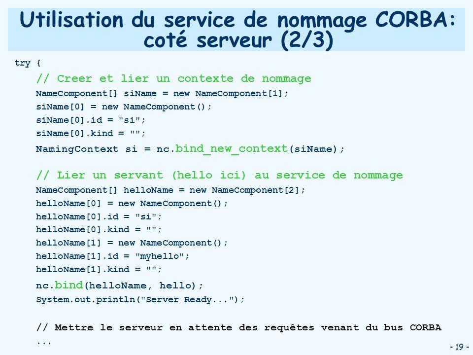 Utilisation du service de nommage CORBA: coté serveur (2/3)