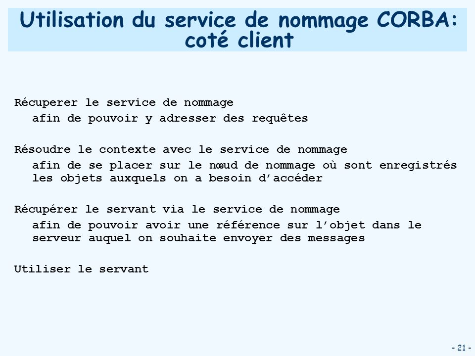 Utilisation du service de nommage CORBA: coté client