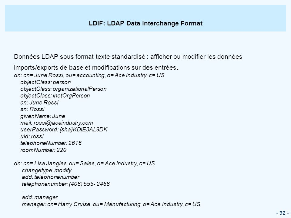LDIF: LDAP Data Interchange Format