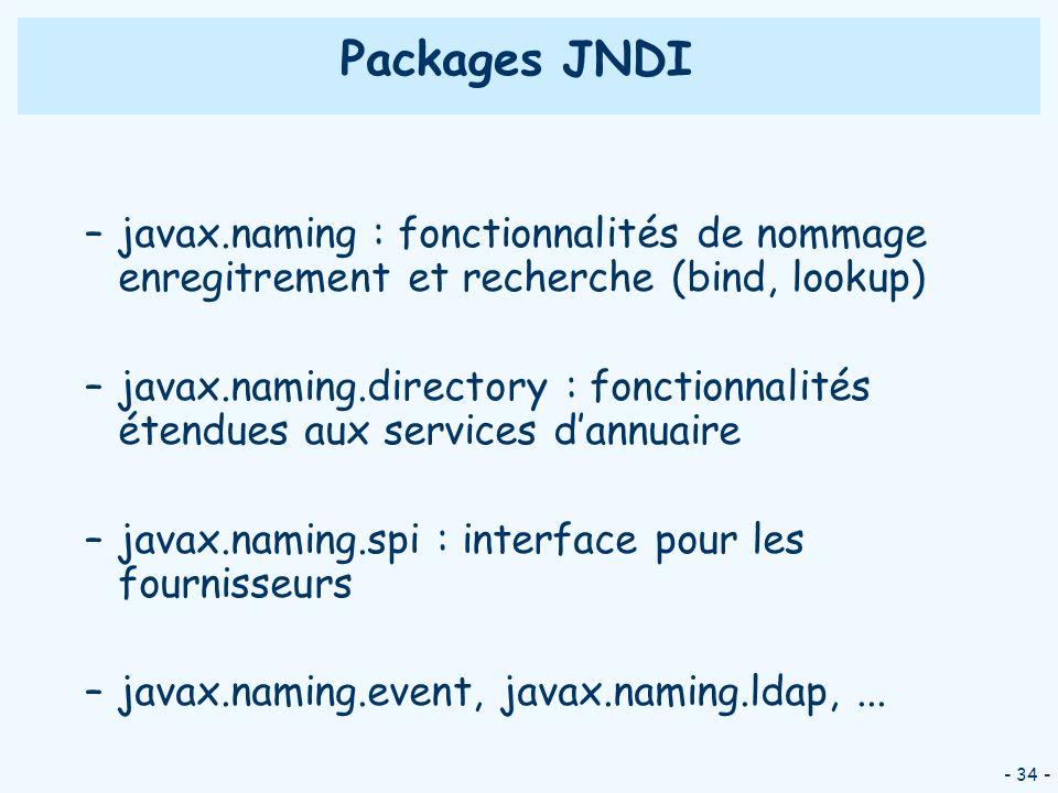 Packages JNDI javax.naming : fonctionnalités de nommage enregitrement et recherche (bind, lookup)