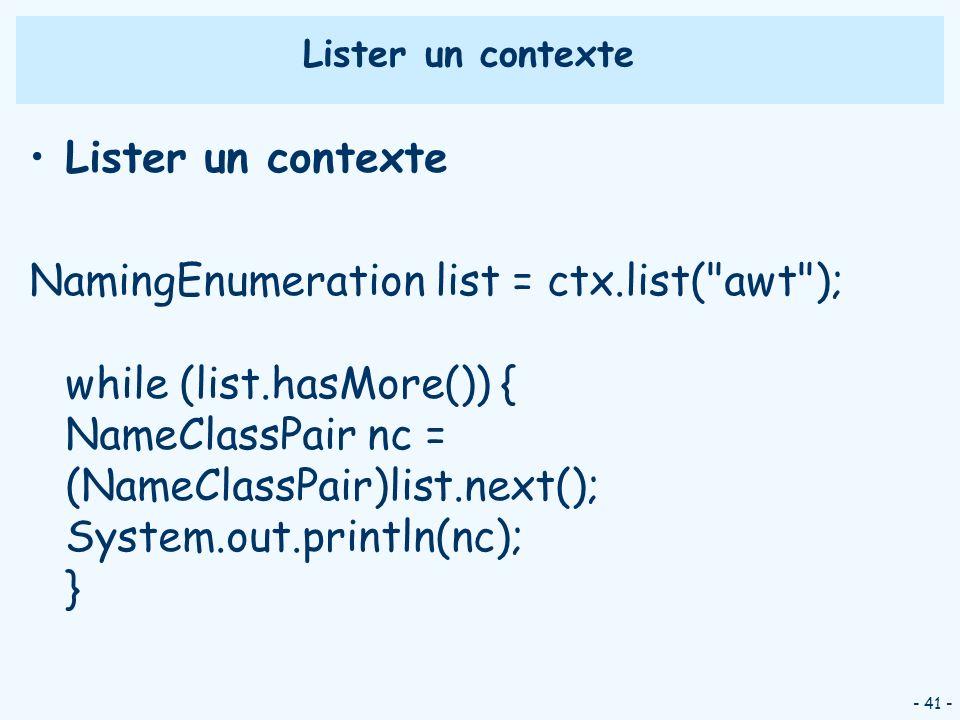 Lister un contexte Lister un contexte.