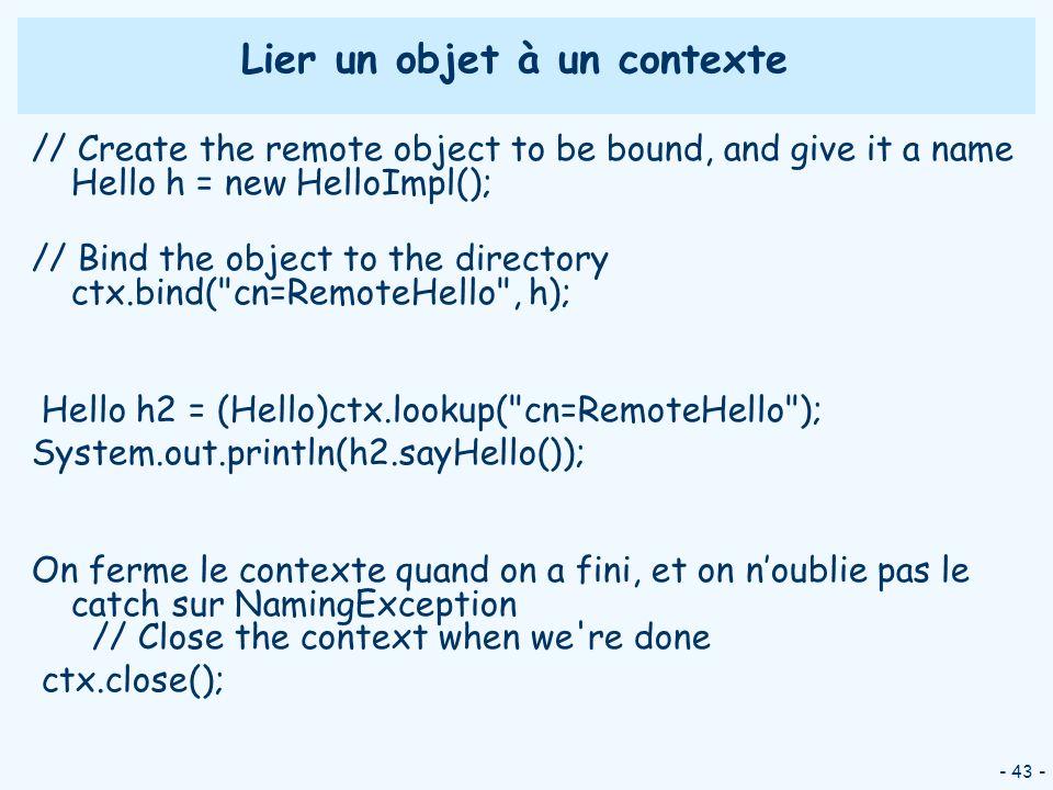 Lier un objet à un contexte