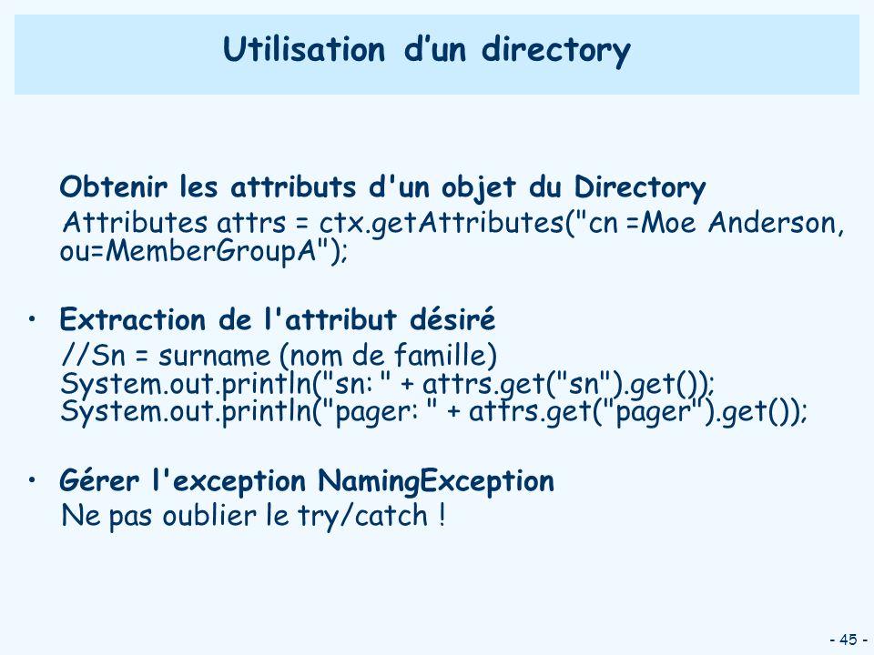 Utilisation d'un directory