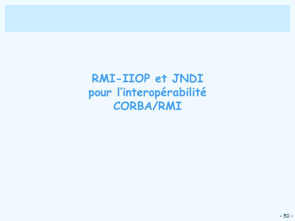 RMI-IIOP et JNDI pour l'interopérabilité CORBA/RMI