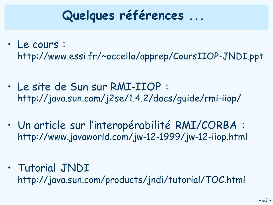 Quelques références ... Le cours : http://www.essi.fr/~occello/apprep/CoursIIOP-JNDI.ppt.