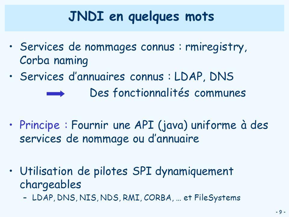 JNDI en quelques mots Services de nommages connus : rmiregistry, Corba naming. Services d'annuaires connus : LDAP, DNS.